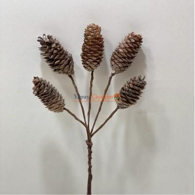 Doğal  Kozalak Sapı Telli Çiçek ve Süslemeye Uygun