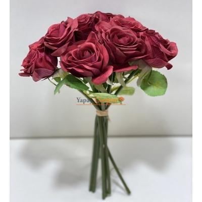 Kırmızı Yapay Islak Gül - Gerçekçi Yapay Çiçekler
