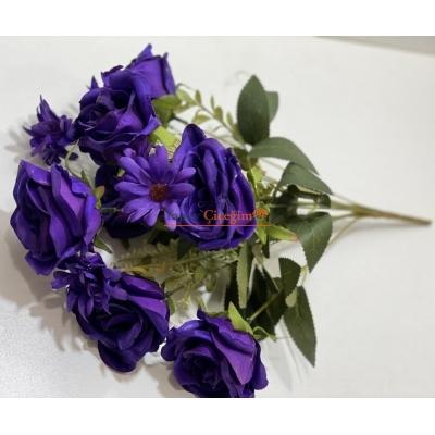 Mor Gül Kaliteli Yapay Çiçek Demeti 1968