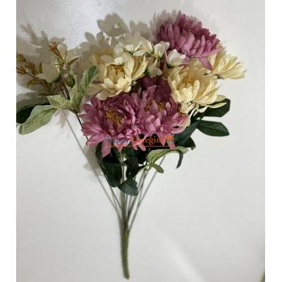 Mor Krem Büyük Papatya Yapay Çiçek - 2158