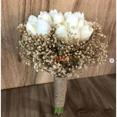 Islak Laleli Gelin Çiçeği - Gelin El Buketi - 008