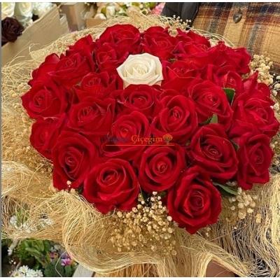 İsteme Çiçeği Gül Demeti 25 Adet Güllü -  3001