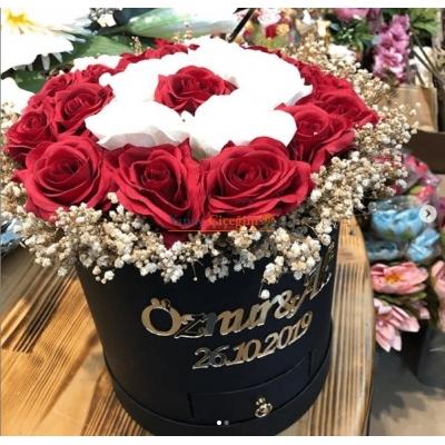 Kutu Gül İsteme Çiçeği İsme Özel Pleksi İsimli - 3002