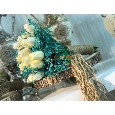 Islak Laleli Mavi Gelin Çiçeği - Gelin El Buketi - 3005