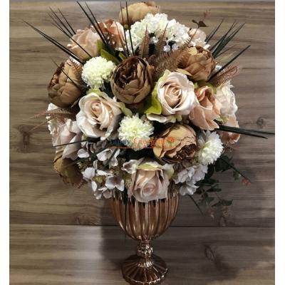 Bakır Vazolu Nişan Çiçeğ Büyük Boy Kaliteli Çiçekler - 3003