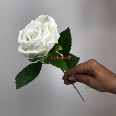 Tek Dal Beyaz Kadife Gül - Uygun Fiyat - 2009