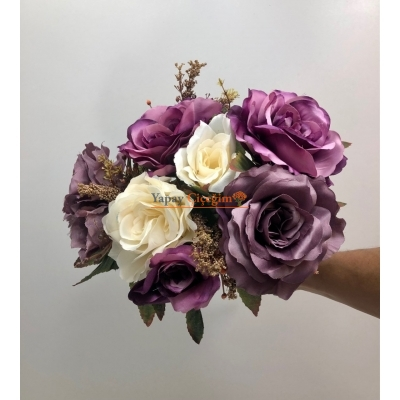 Mor Krem Büyük Yapay Çiçek Demeti