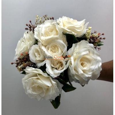 Krem Büyük Yapay Çiçek Demeti