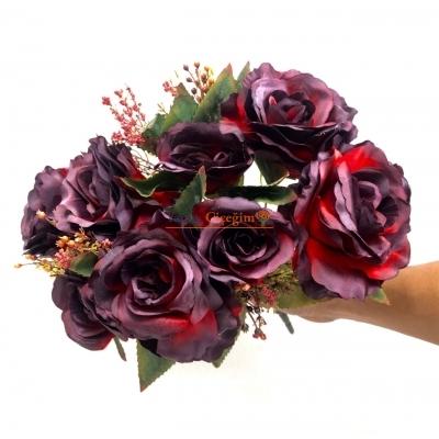 Bordo Büyük Yapay Çiçek Demeti