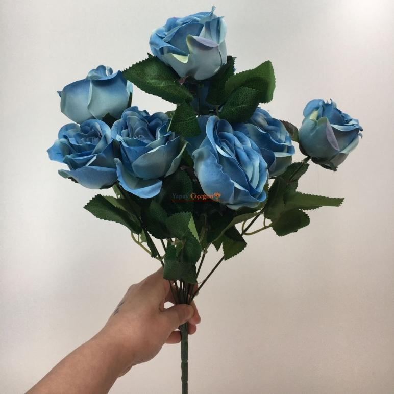 Mavi Yapay Vazo Gülü